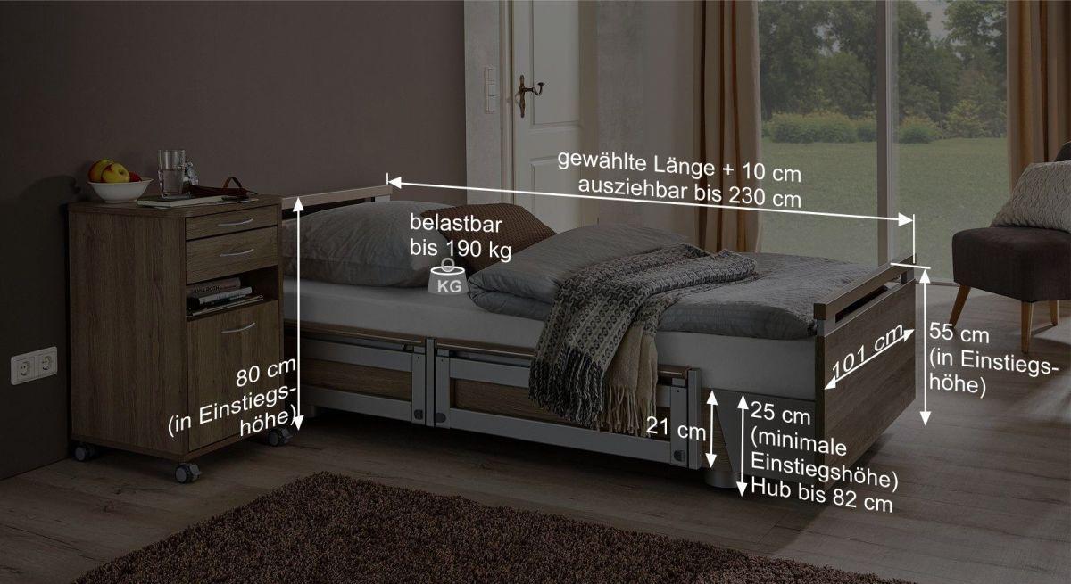 Bemaßungsgrafik vom Komfortbett mit Pflegebett-Funktion Usedom