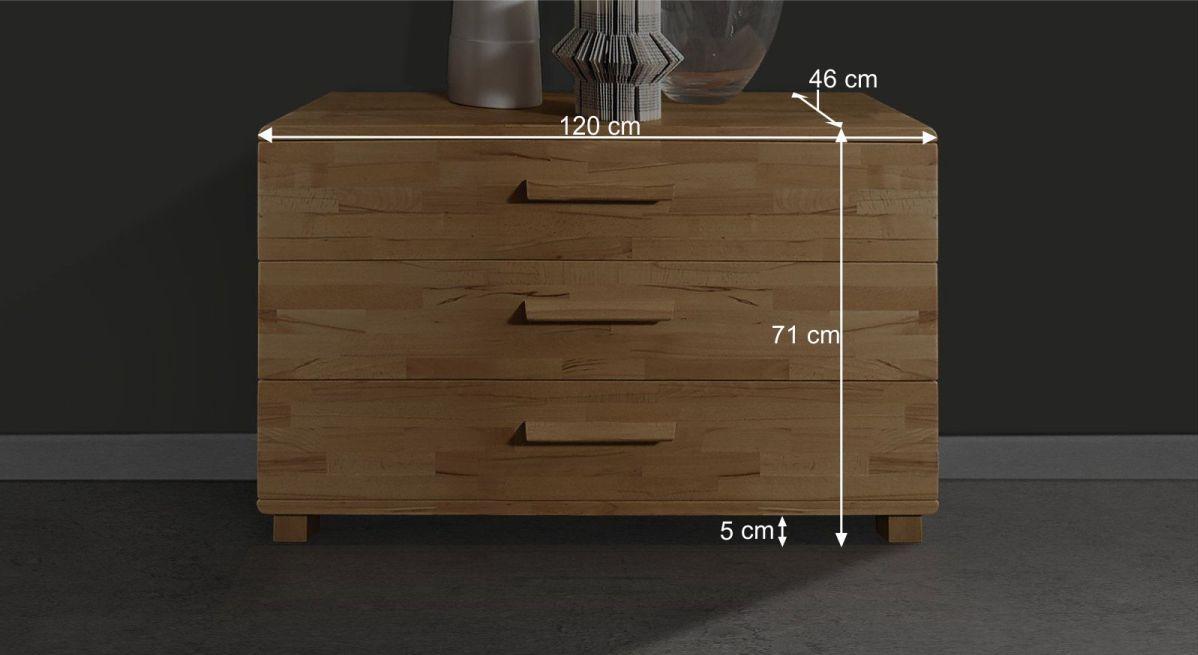 Infografik zu den Maßen der Kommode Grevena