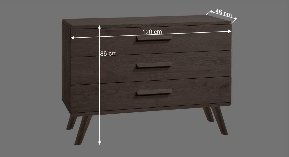 Bemaßungsgrafik zur Kommode Oriane 20 cm Füße