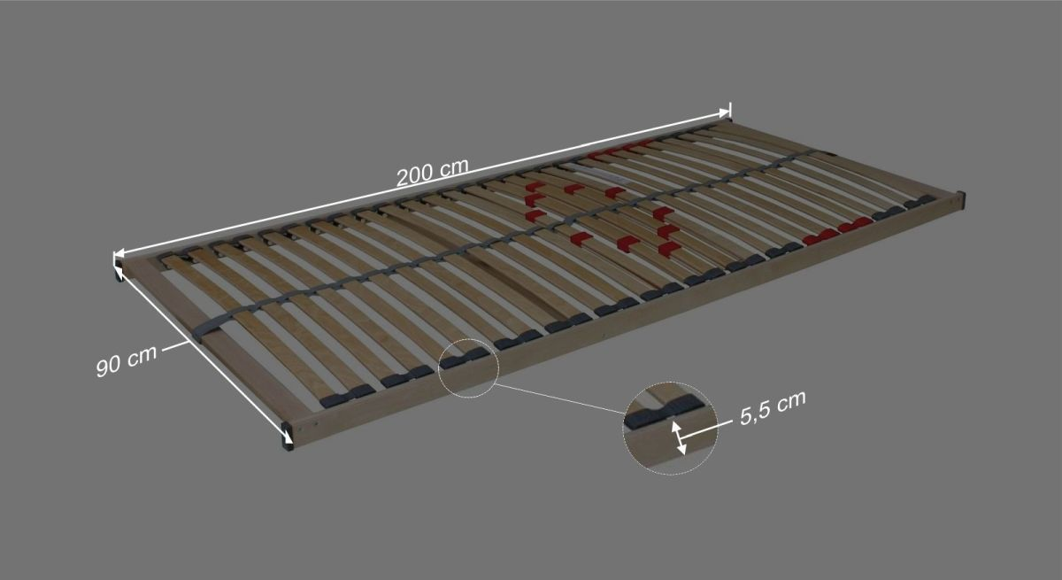 Bemaßungsgrafik zum Lattenrost des Komplett-Bettes Ellmau
