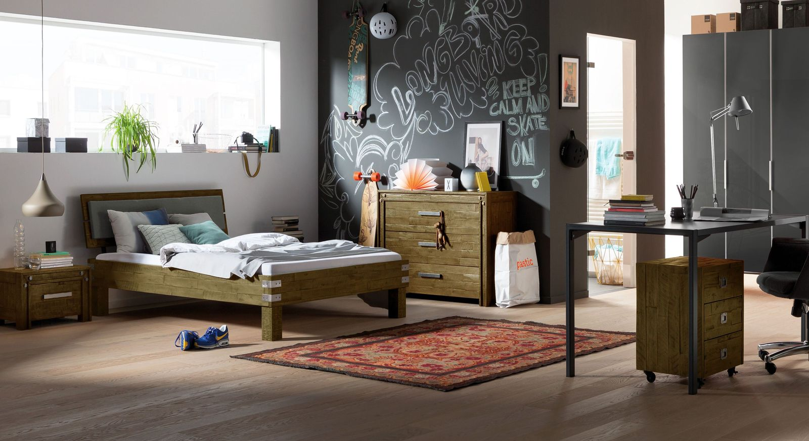echtholz jugendzimmer im angesagten industrial look felipe. Black Bedroom Furniture Sets. Home Design Ideas