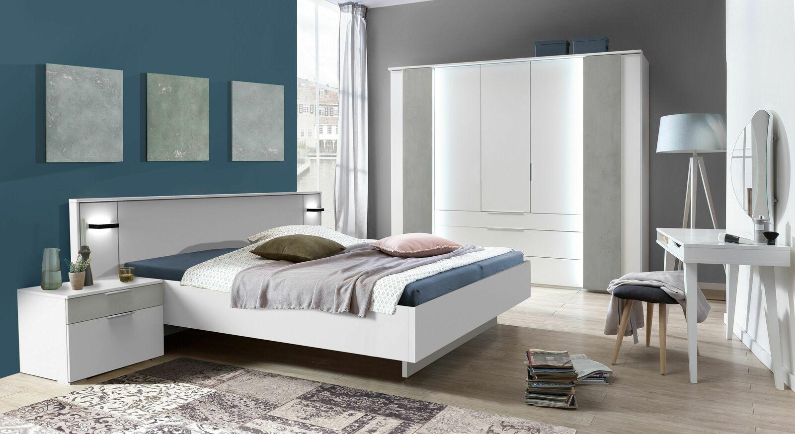 Komplett-Schlafzimmer in alpinweißem Dekor mit Absetzton