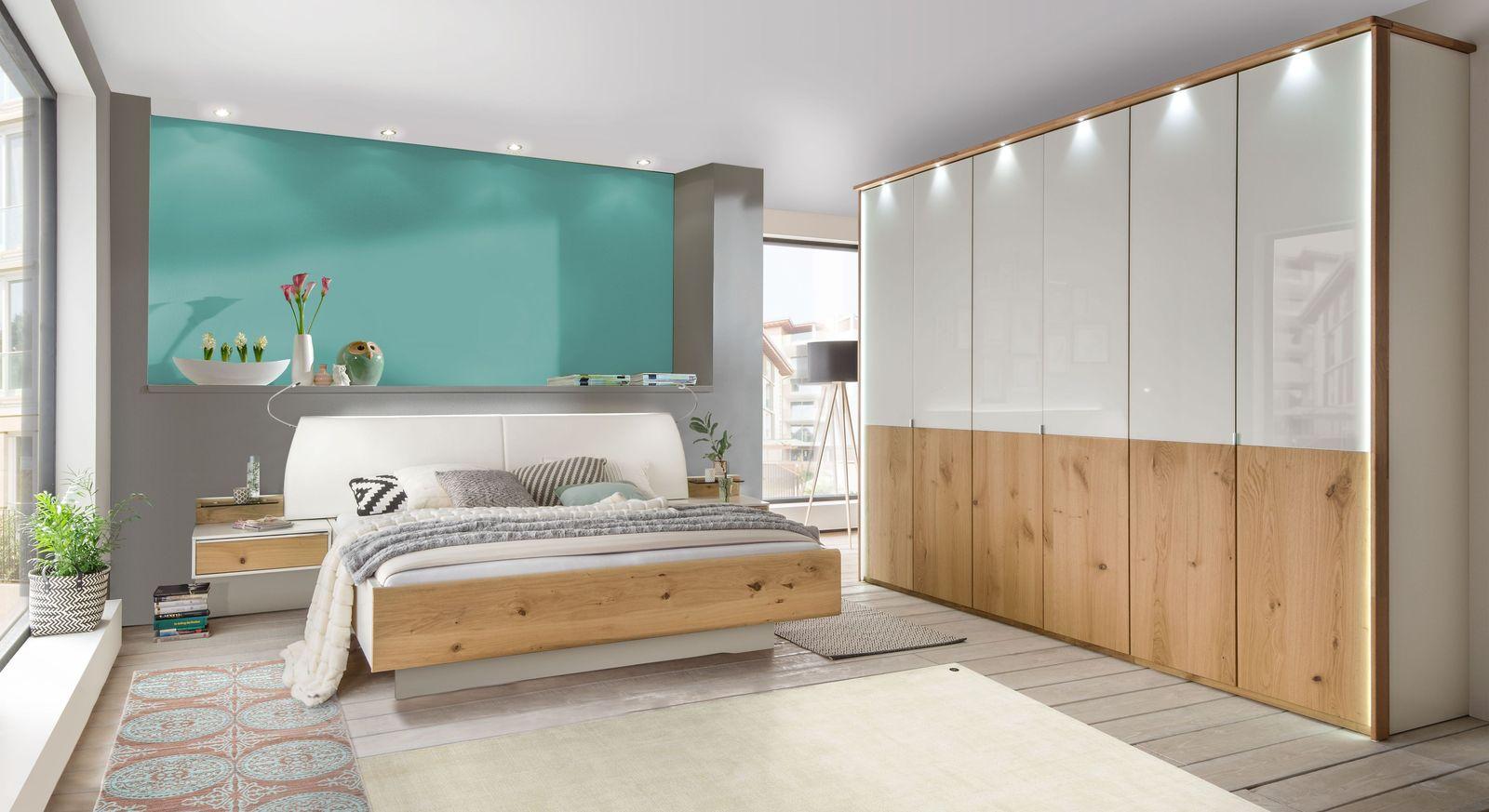 Komplett-Schlafzimmer mit weißem Glas & Eiche-Furnier - Briston