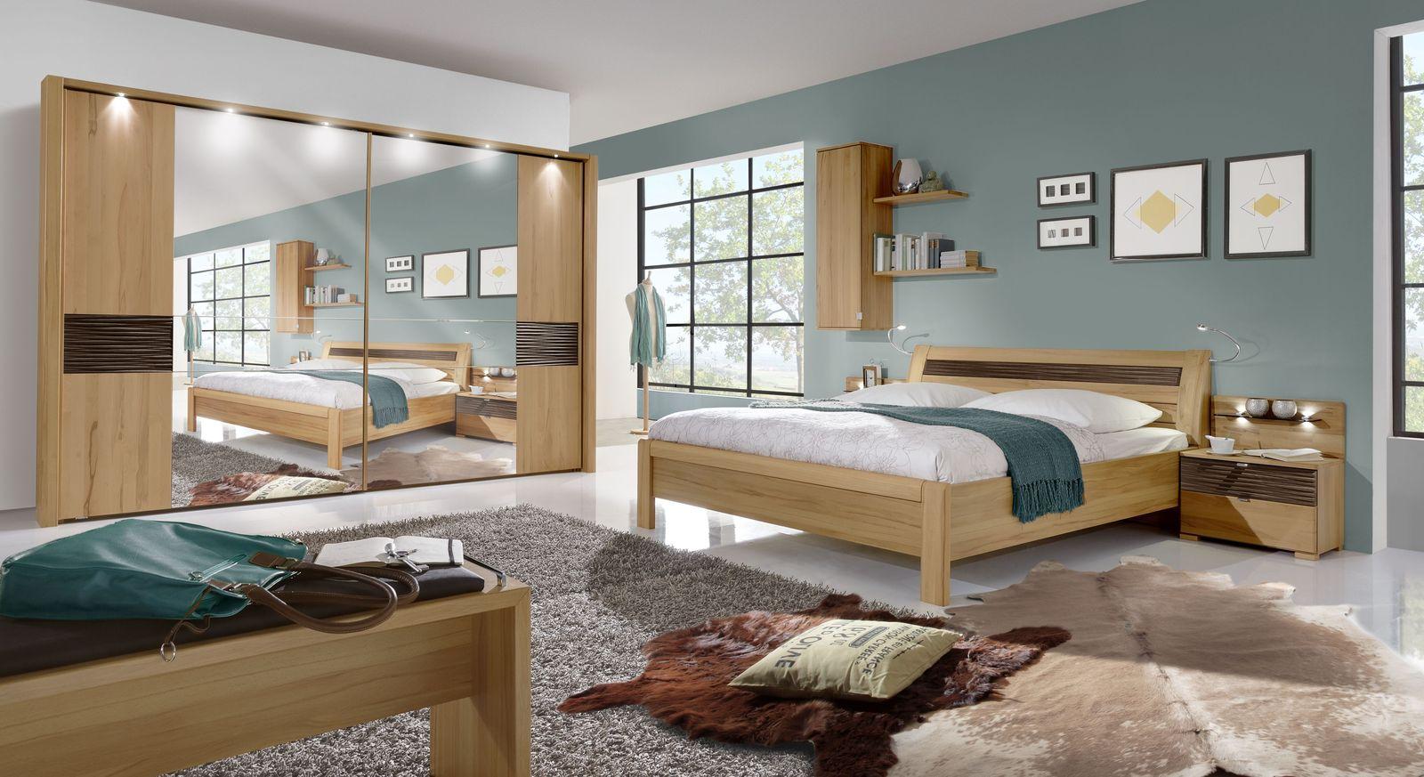 Komplett-Schlafzimmer Burbia mit Bett Kleiderschrank und Nachttisch