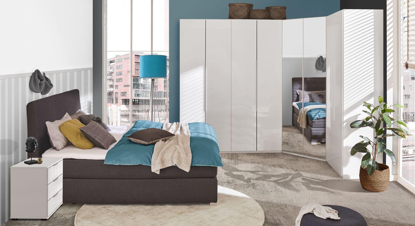 Modernes Komplett-Schlafzimmer Esperia mit Boxspringbett und Kleiderschrank