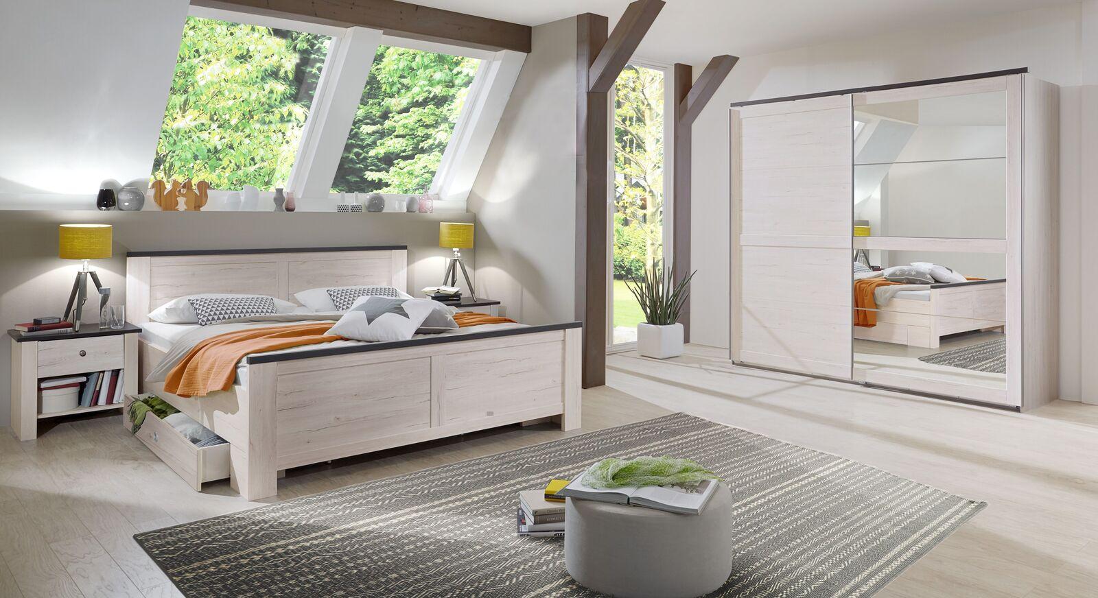 Komplett-Schlafzimmer Grom in Weißeiche und Anthrazit Dekor