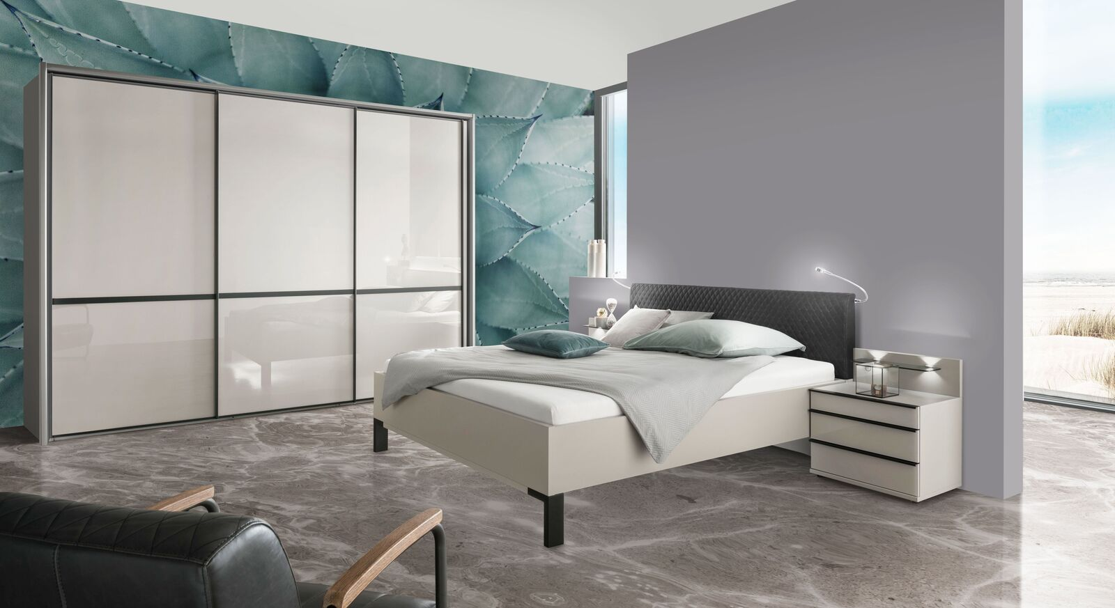 Komplett-Schlafzimmer-Loyd mit Schwebetüren-Kleiderschrank
