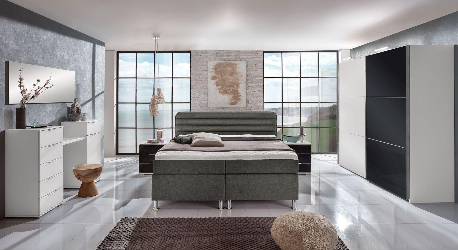 Komplett-Schlafzimmer mit Boxspringbett junges Wohnen - Lurato