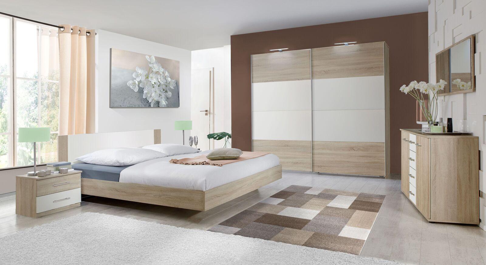 Komplett-Schlafzimmer Malwa in zweifarbigem Dekor