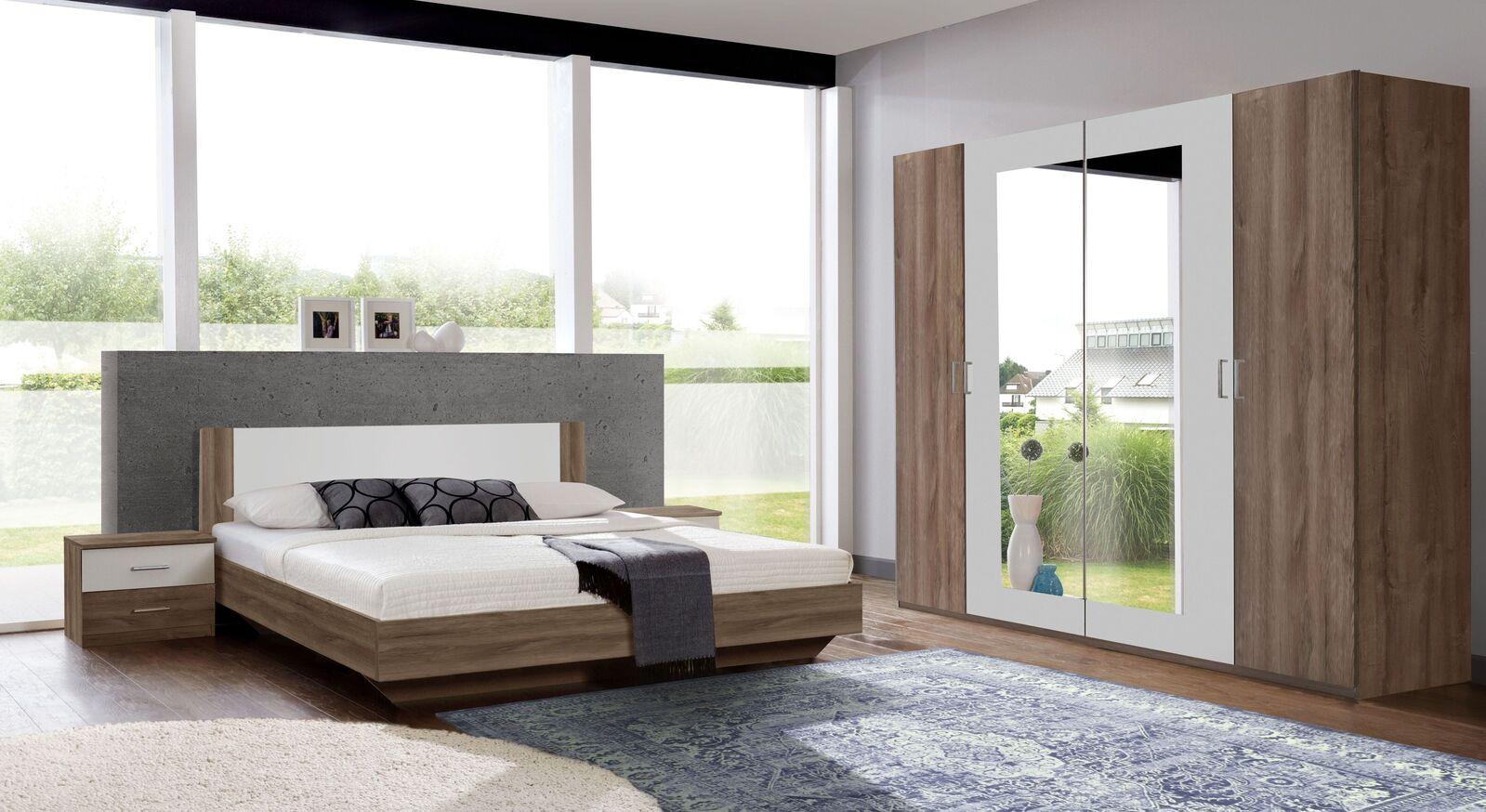 Komplett-Schlafzimmer mit Drehtüren-Kleiderschrank Mandola