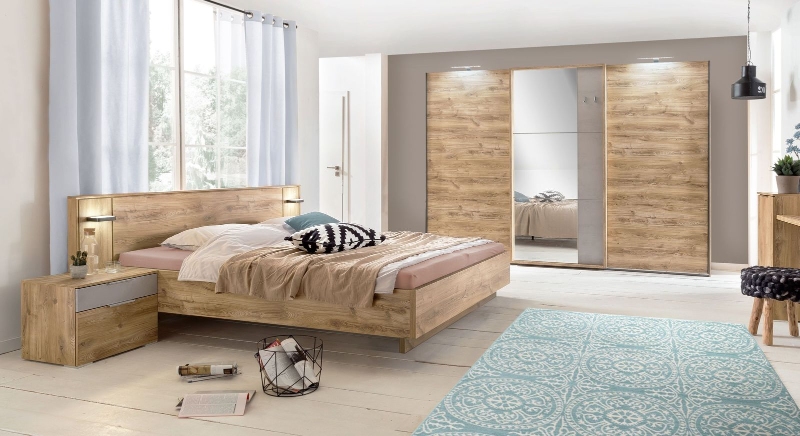Komplett-Schlafzimmer Pomona in Plankeneiche-Nachbildung