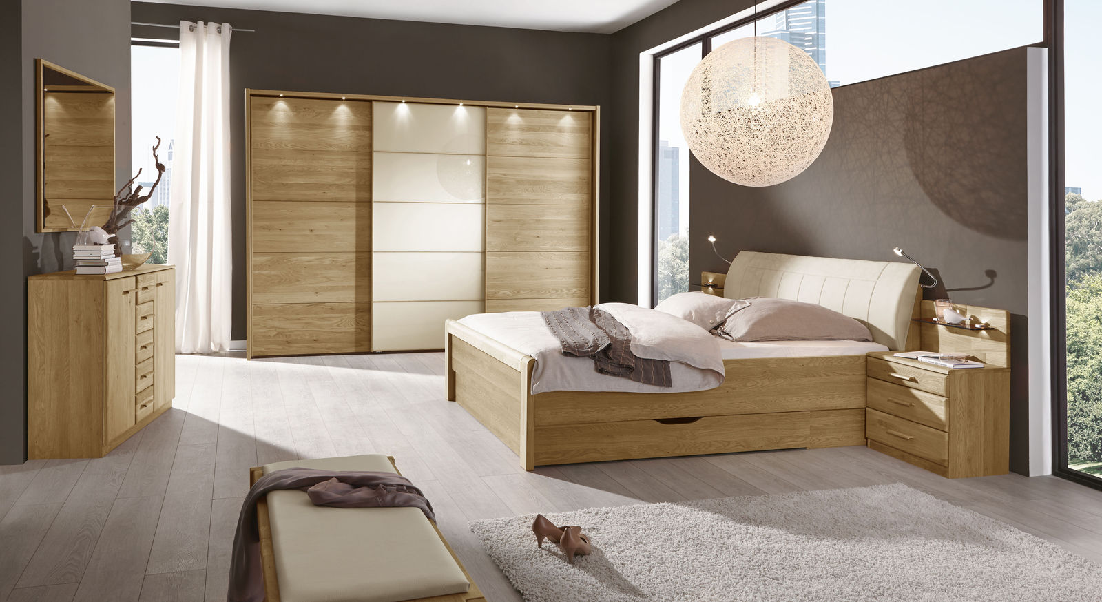 schubkastenbett teilmassive eiche mit kunstleder kopfteil praia. Black Bedroom Furniture Sets. Home Design Ideas