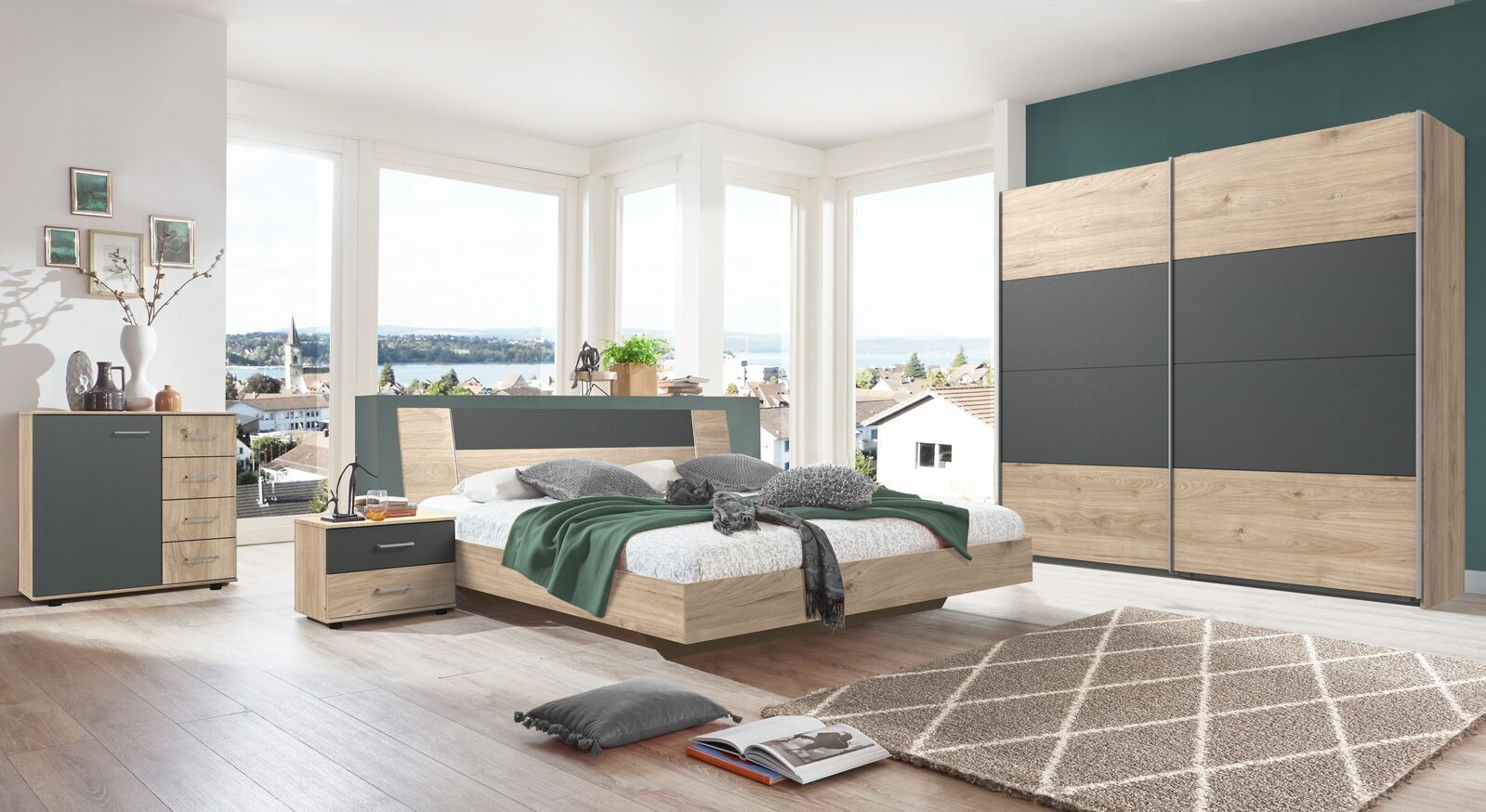 Komplett-Schlafzimmer Prenor in Hickory Oak und Graphit Dekor
