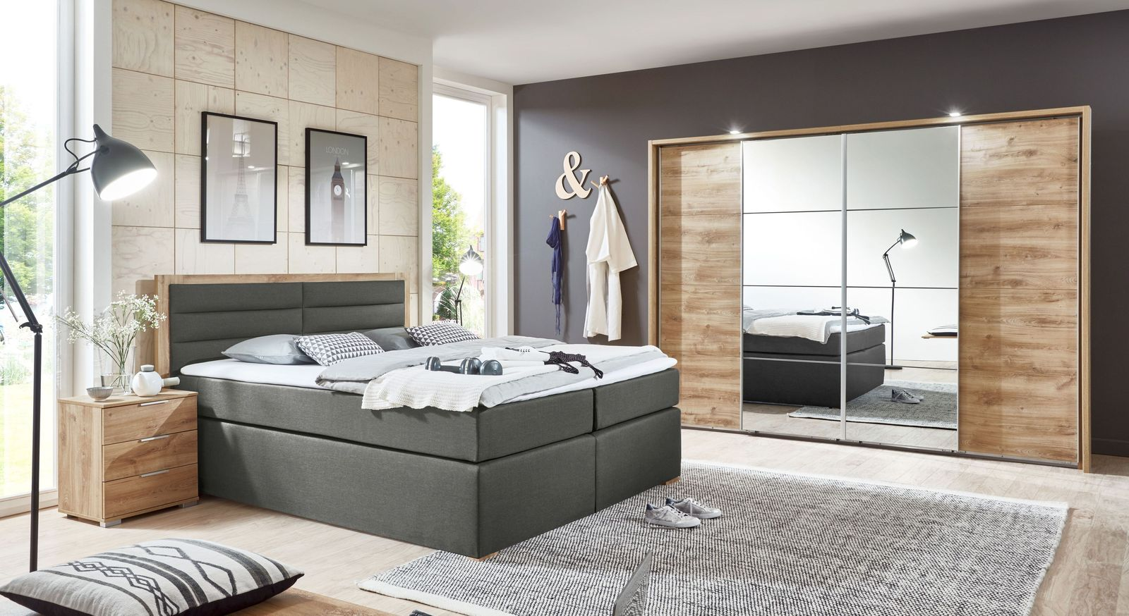 komplett schlafzimmer mit stauraumbett samt topper rovito. Black Bedroom Furniture Sets. Home Design Ideas