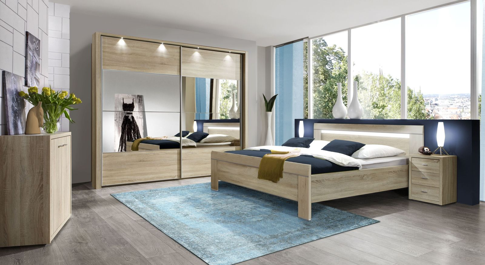 geradliniges komforth he bett in eiche s gerau dekor seymour. Black Bedroom Furniture Sets. Home Design Ideas