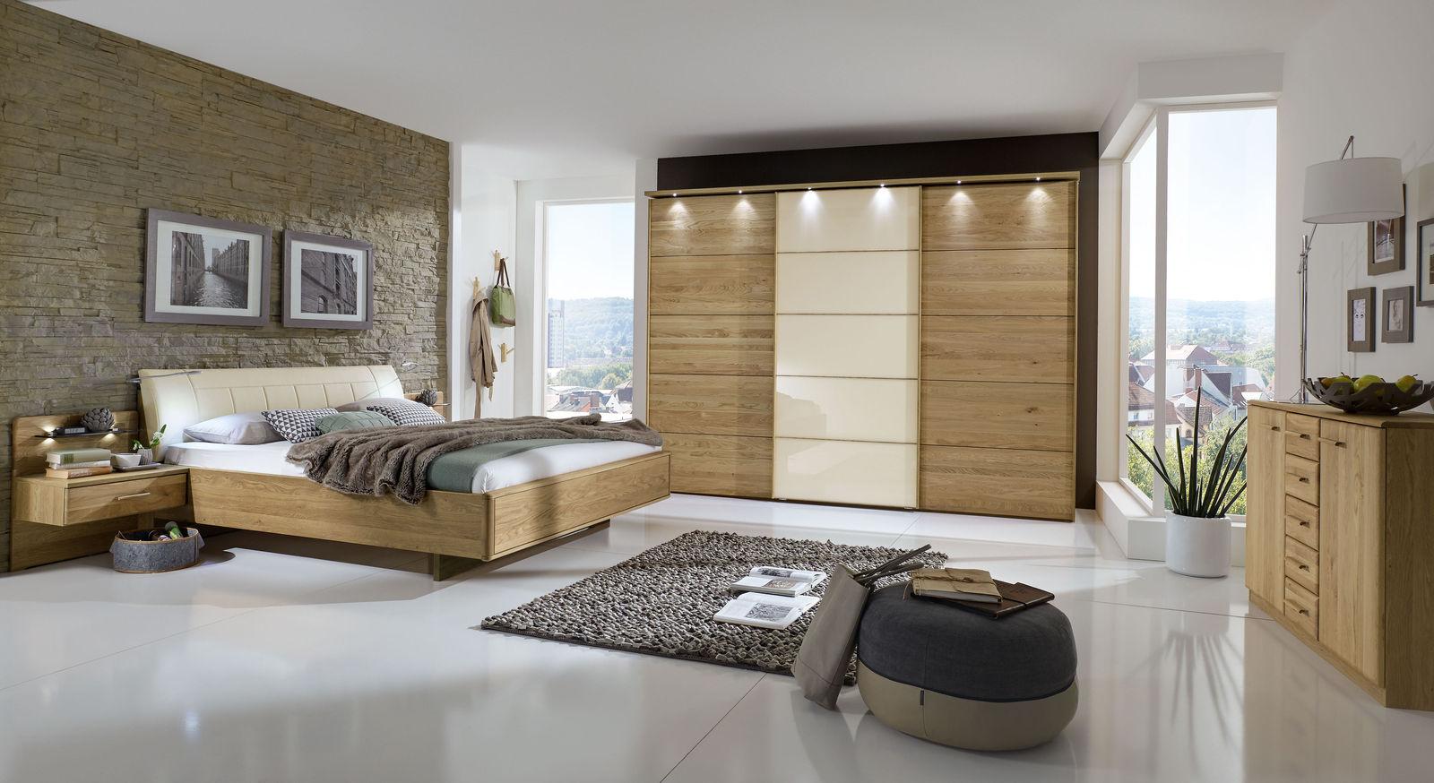 Schlafzimmer Komplett In Eiche Teilmassiv Mit Schwebebett - Temir Schlafzimmer Komplett