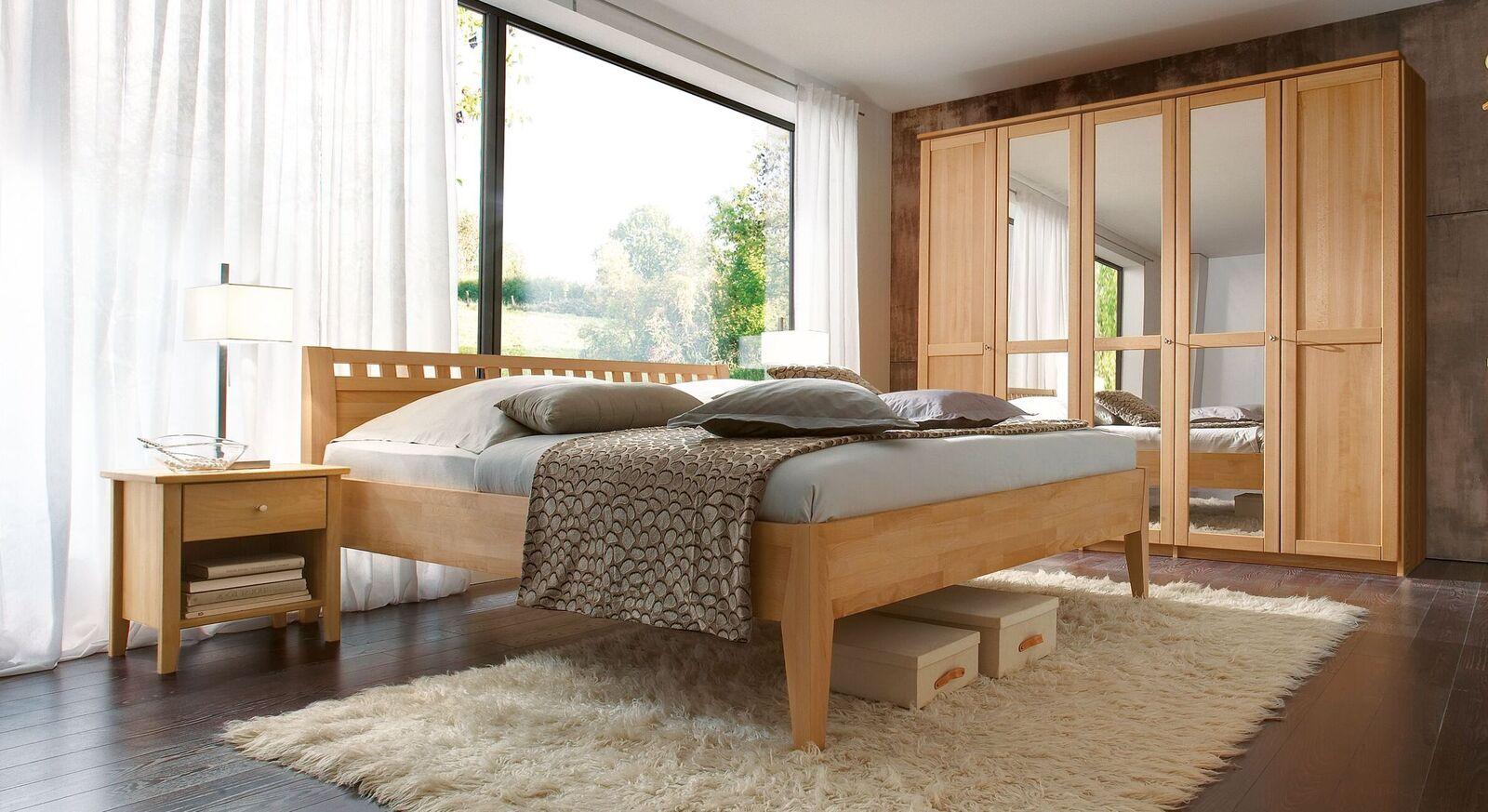 Stilvolles Komplett-Schlafzimmer Triest aus Buche