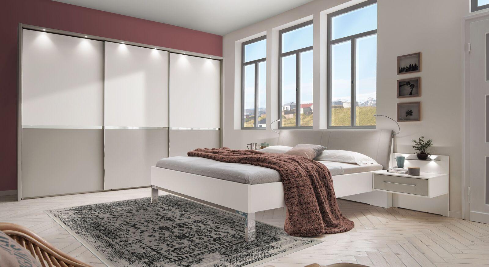 Komplett-Schlafzimmer Tulsa in Kieselgrau und Alpinweiß