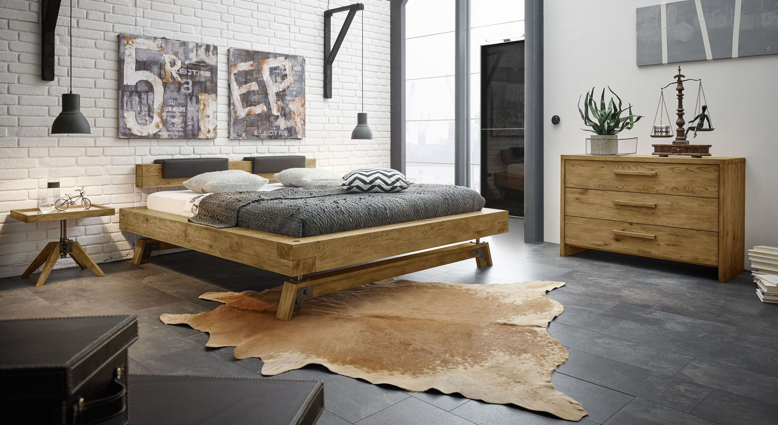 industrial schlafzimmer wildeiche mit vintage charme valdivia. Black Bedroom Furniture Sets. Home Design Ideas