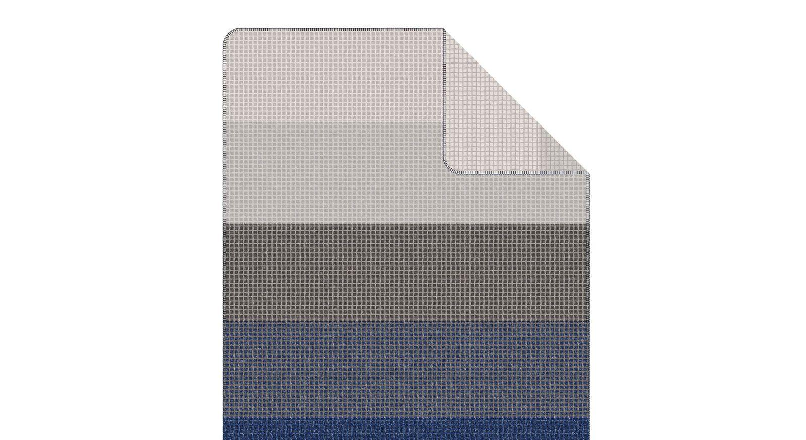 Kuscheldecke s.Oliver Streifen nachtblau-grau mit harmonischer Farbkombination