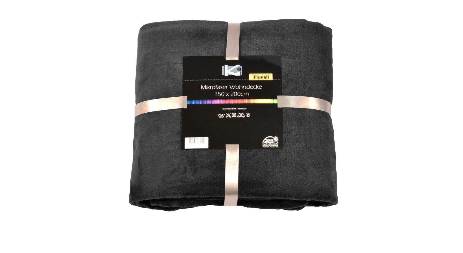 Anthrazitfarbene Kuscheldecke Tavira mit Seidenband-Verpackung