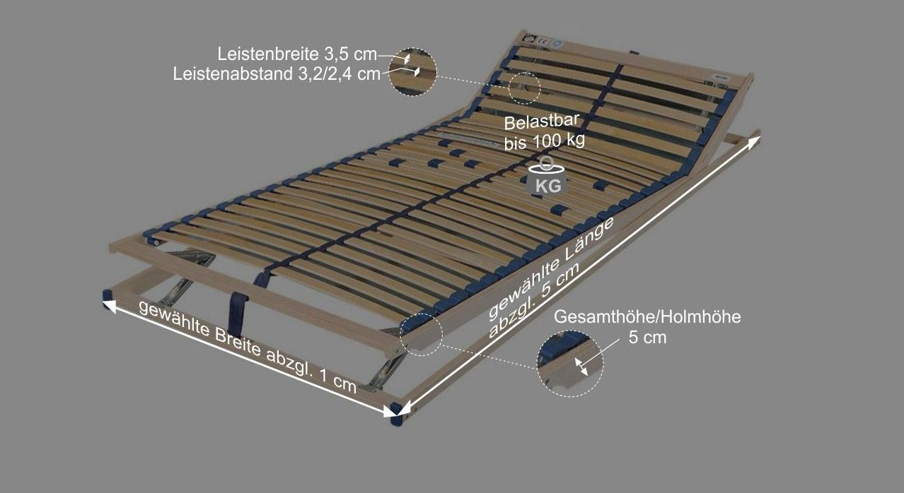 Bemaßungsgrafik zum Lattenrost Olympus