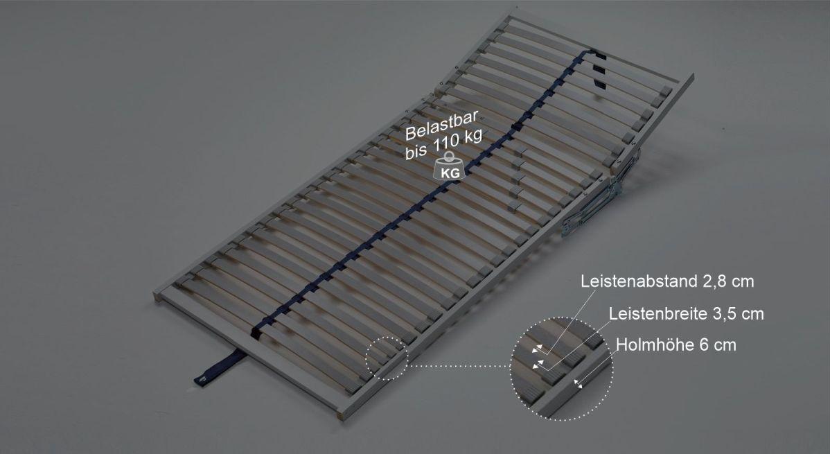 Lattenrost Premiums Bmaßungsgrafik