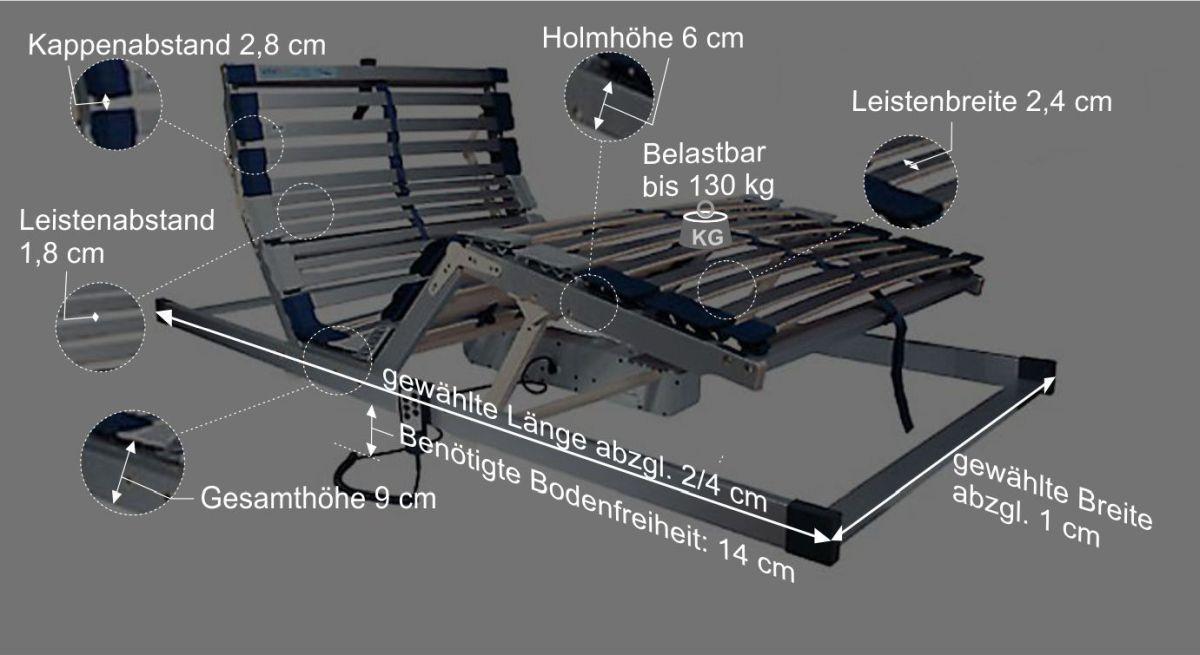 Lattenrost vitalflex Motors Bemaßungsgrafik