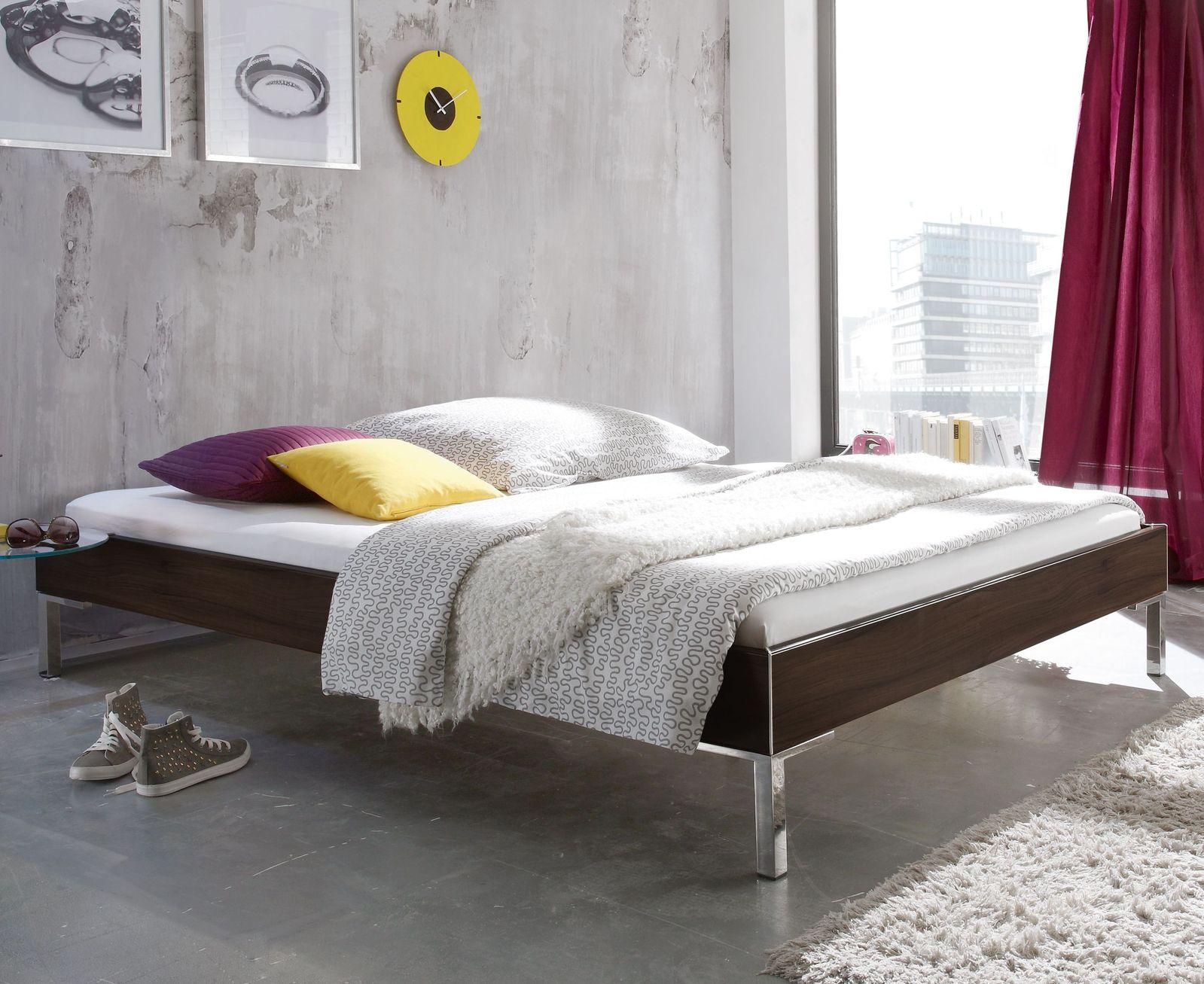 Modernes Designerbett ohne Kopfteil mit Dekor-Bettrahmen - Anera