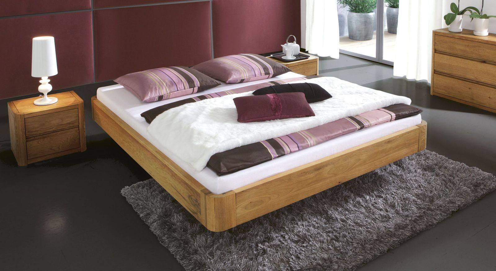 schwebebett aus massivem eichenholz ohne kopfteil salerno. Black Bedroom Furniture Sets. Home Design Ideas