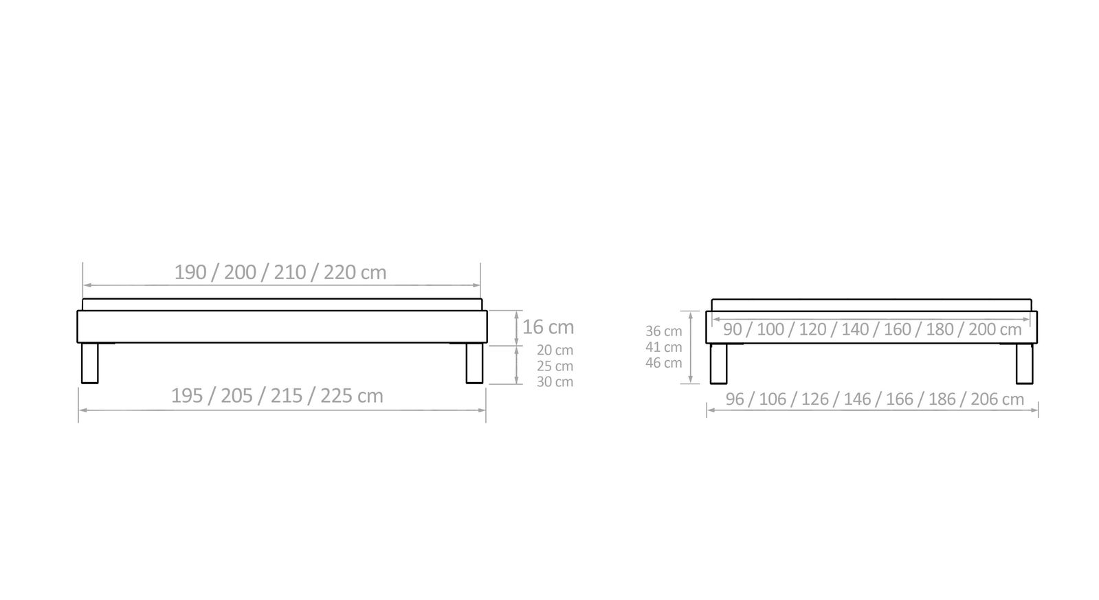 attraktives bettgestell ohne kopfteil fu h he w hlbar sierra. Black Bedroom Furniture Sets. Home Design Ideas