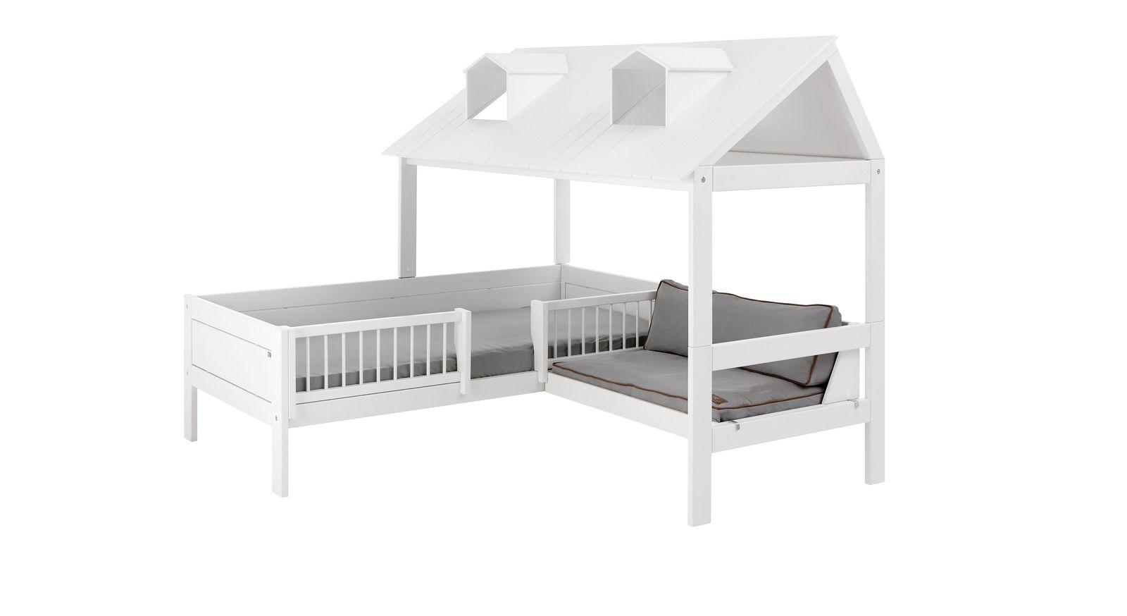 LIFETIME Bett & Sofa Ferienhaus mit Dach in ganzer Breite