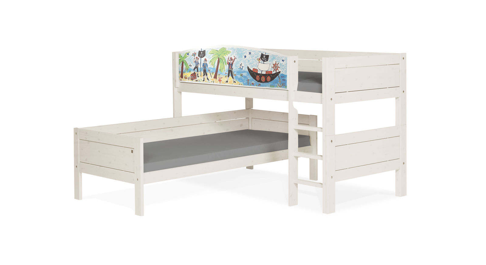 Weiß lasiertes LIFETIME Eck-Etagenbett Pirat für Kinder