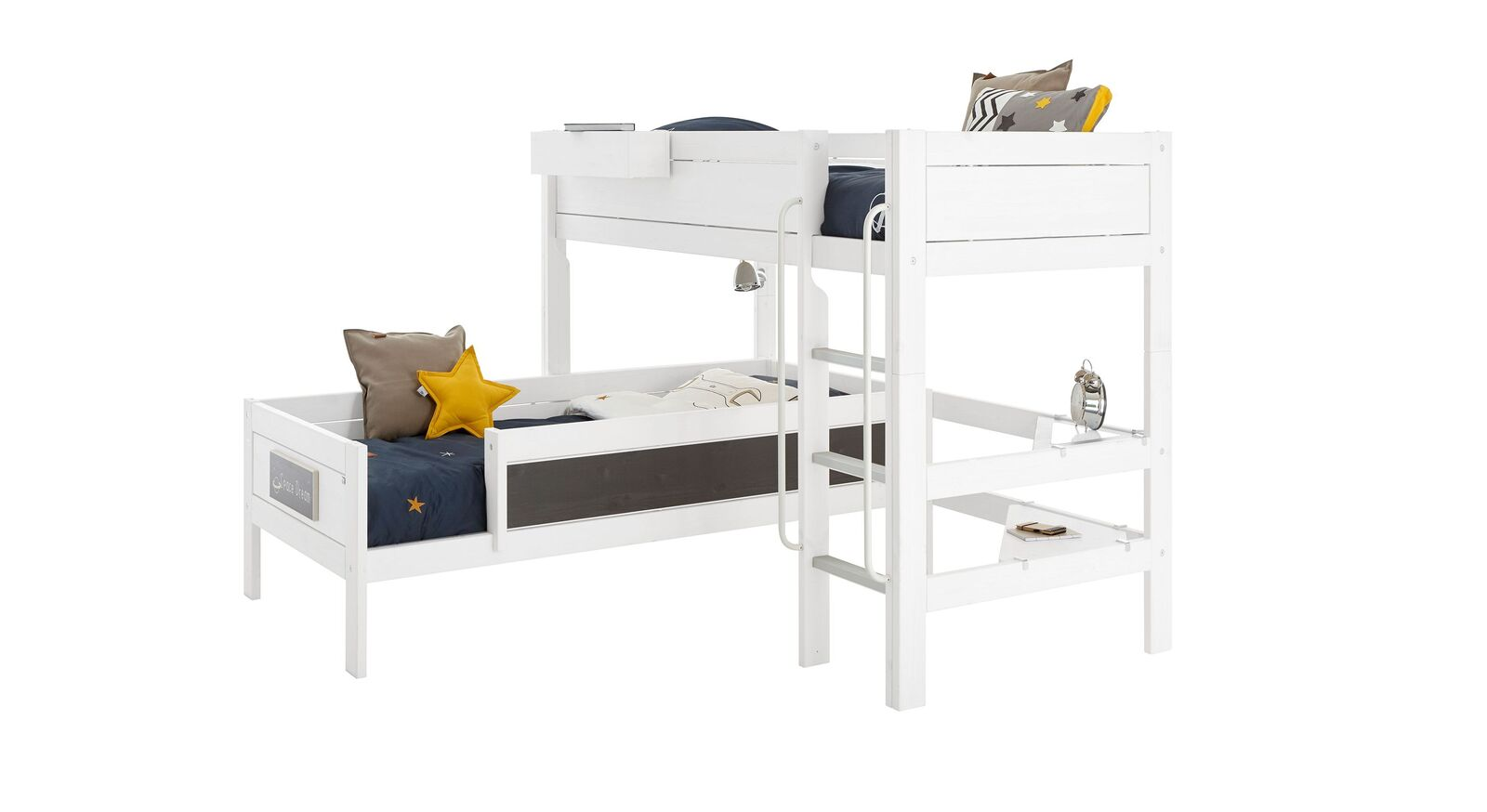 LIFETIME Eckt-Etagenbett Original aus weiß lackiertem Holz