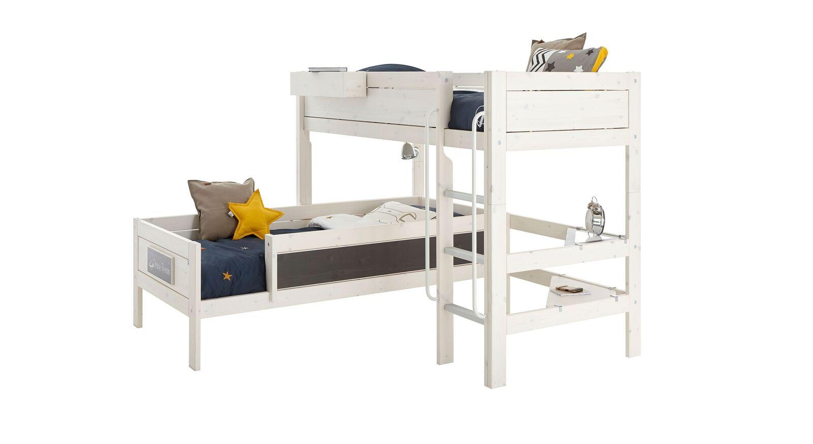 LIFETIME Eckt-Etagenbett Original aus weiß lasiertem Holz