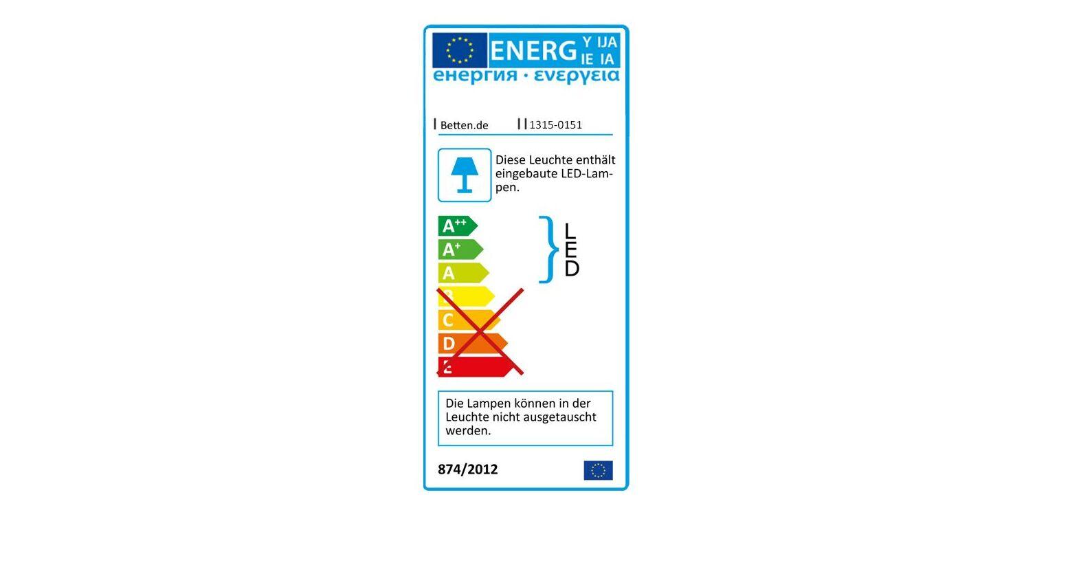 Energieverbrauchs-Kennzeichnung zur LIFETIME Eckablage Original mit LED