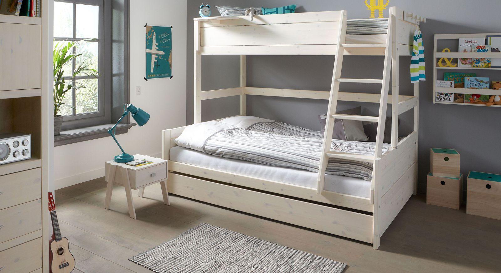LIFETIME Familienbett Original aus weiß lasiertem Massivholz