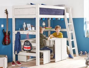 Hochbett Holz Massiv : Spiel etagenbett carsimo aus holz mit rutsche wohnen de avec
