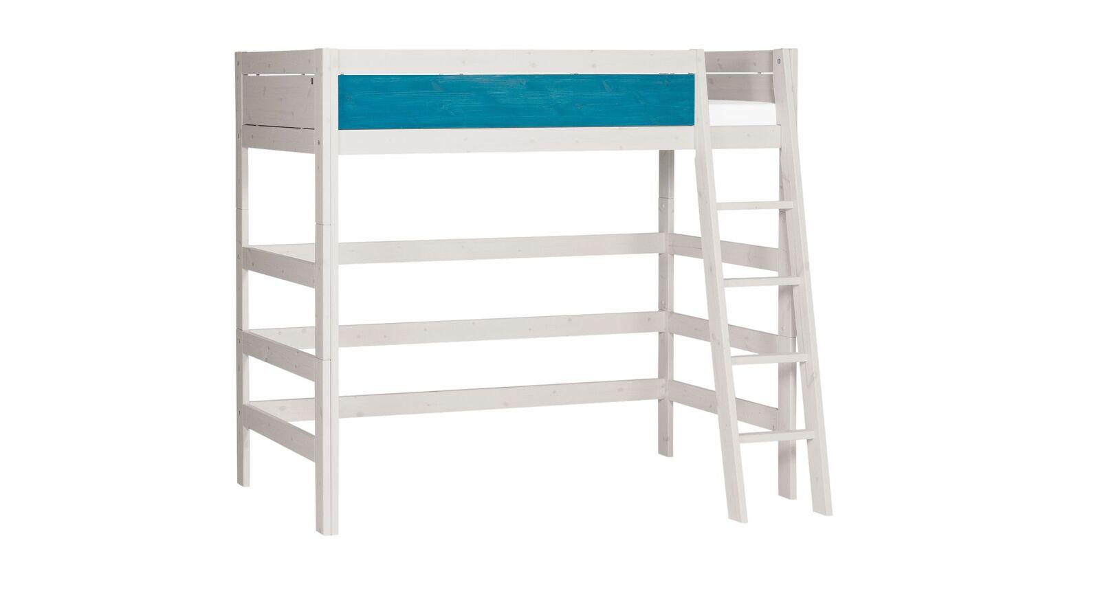 LIFETIME Hochbett Color mit schräger Leiter und blauer Front
