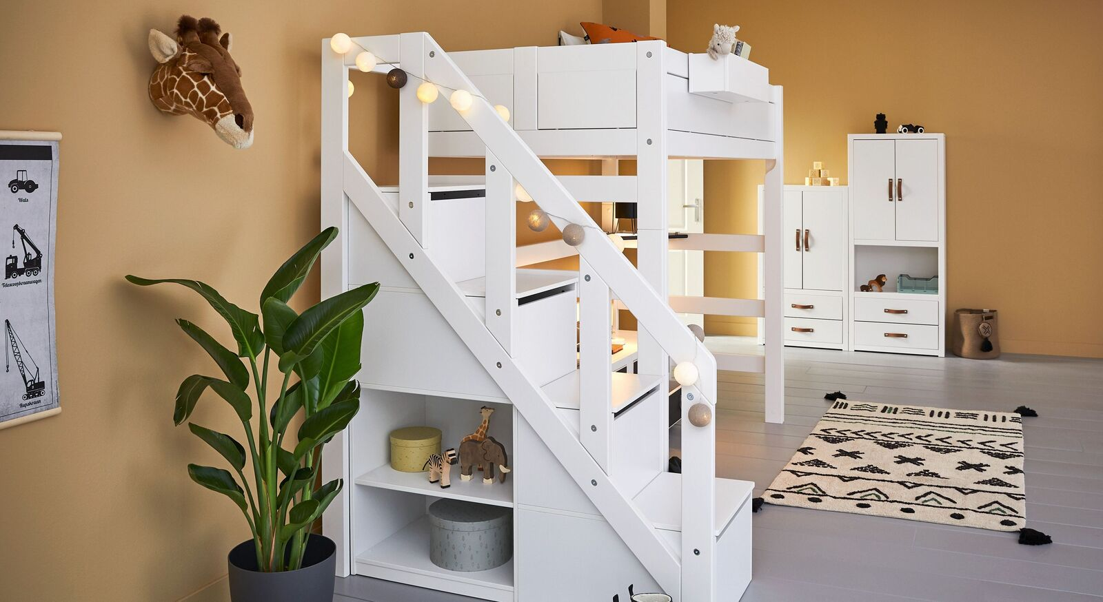 LIFETIME Hochbett Original mit Treppenmodul und stabilem Geländer