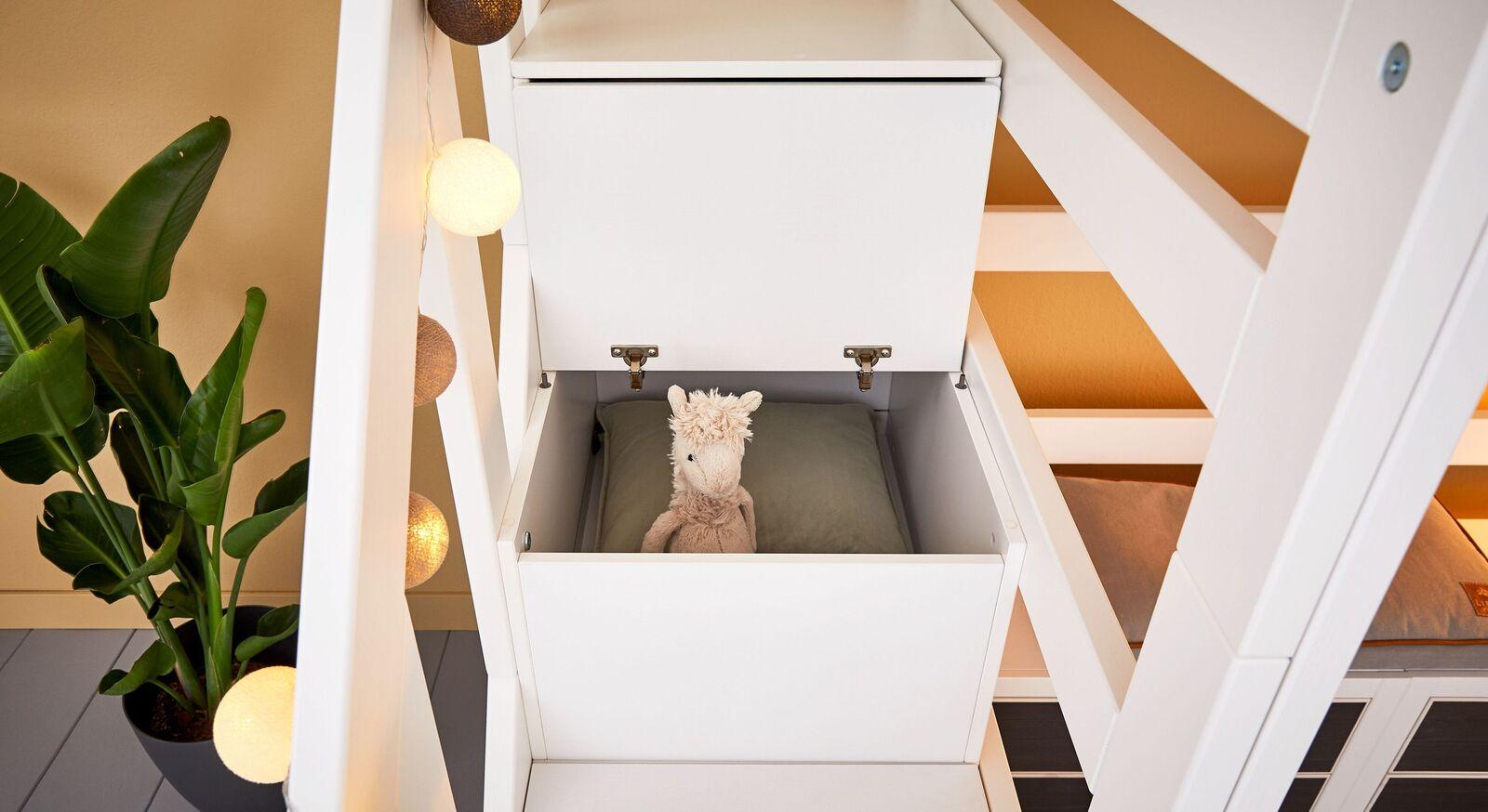 LIFETIME Hochbett Original mit Treppenmodul und Stauraum-Boxen