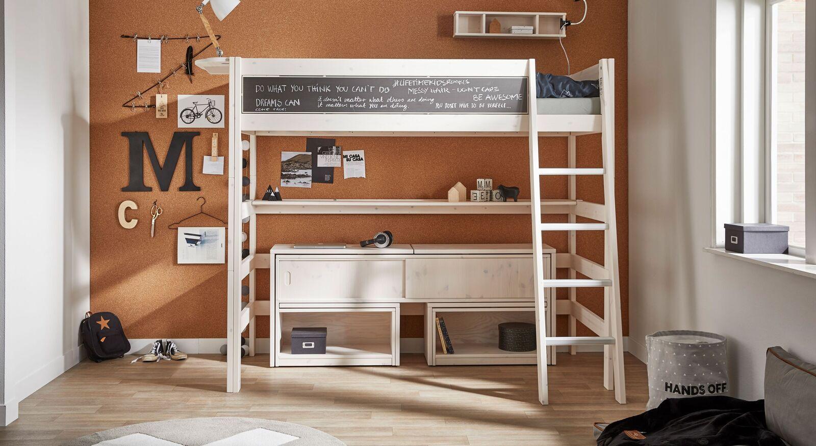 LIFETIME Hochbett Tafel aus robustem Echtholz