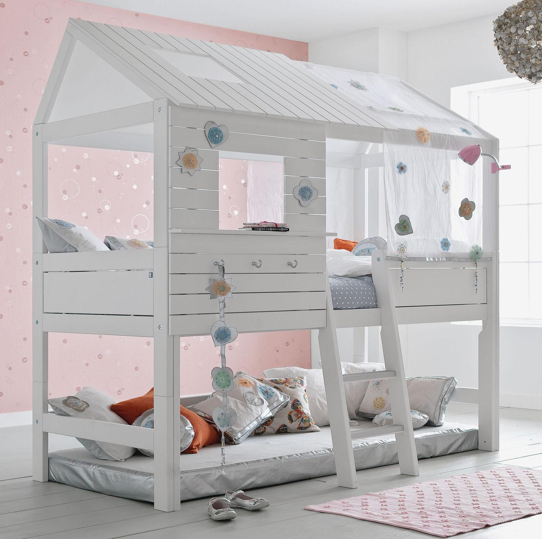 Hochbett  LIFETIME Hütten-Hochbett aus Kiefer weiß lackiert - Sternenglanz