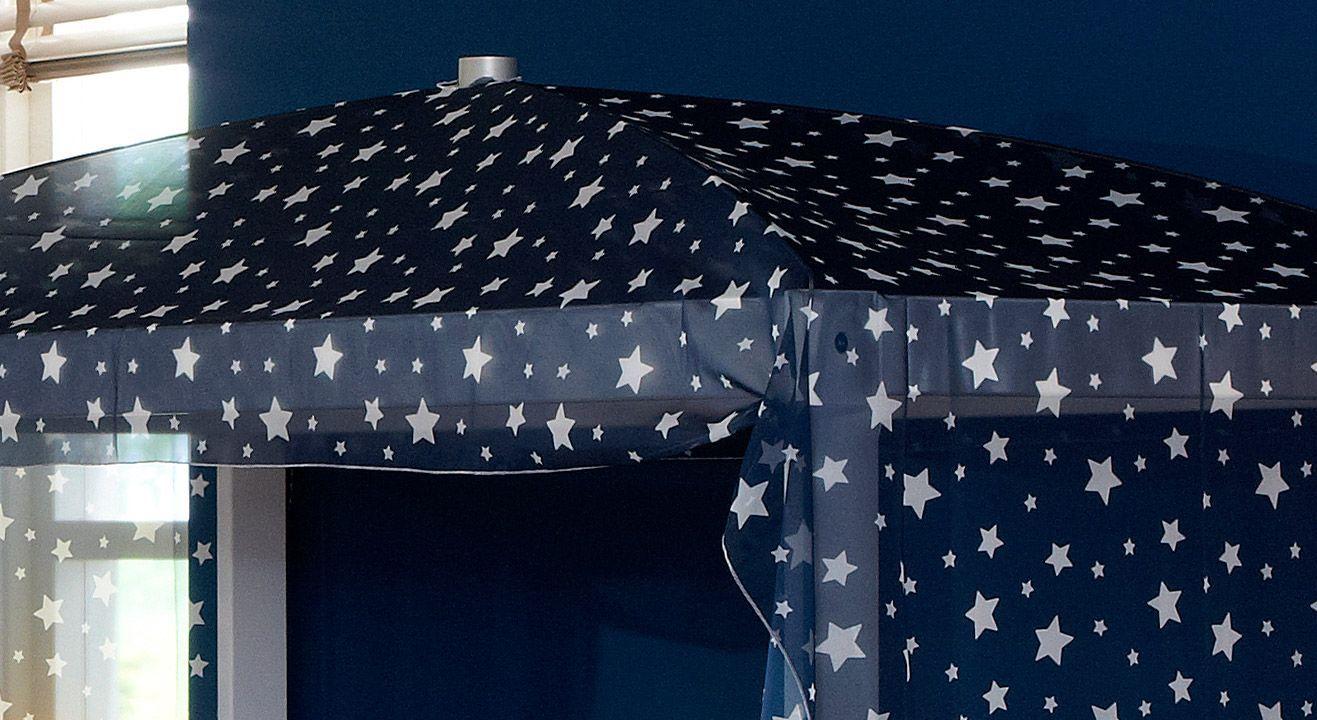 Kinderbett 4-in-1 mit dem Baldachin in Blau mit Sternen