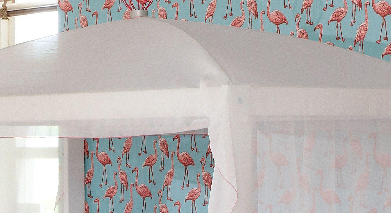 Kinderbett 4-in-1 mit dem Baldachin in Weiß-Pink
