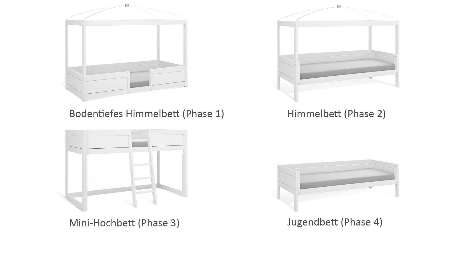 Kinderbett 4-in-1 bietet viele Variationsmöglichkeiten