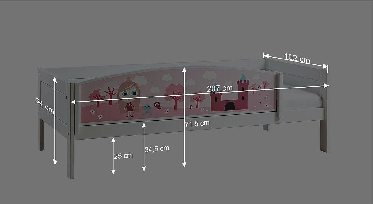 Bemaßungsgrafik zum LIFETIME Kinderbett Prinzessin