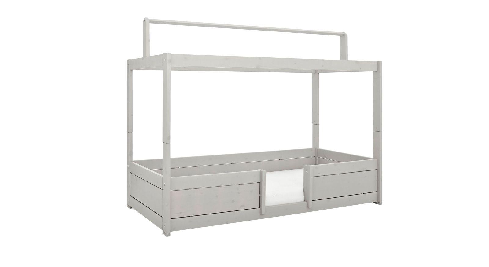 LIFETIME Kinderbetten 4-in-1 mit Dachfirst aus grau lasierter Kiefer