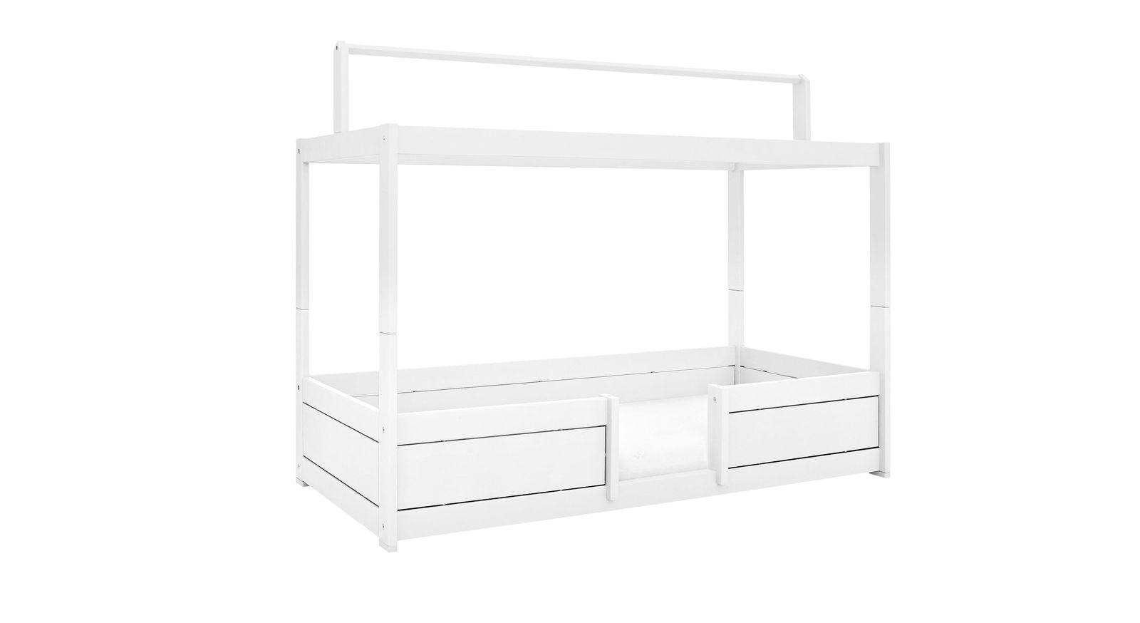 LIFETIME Kinderbetten 4-in-1 mit Dachfirst aus weiß lackierter Kiefer