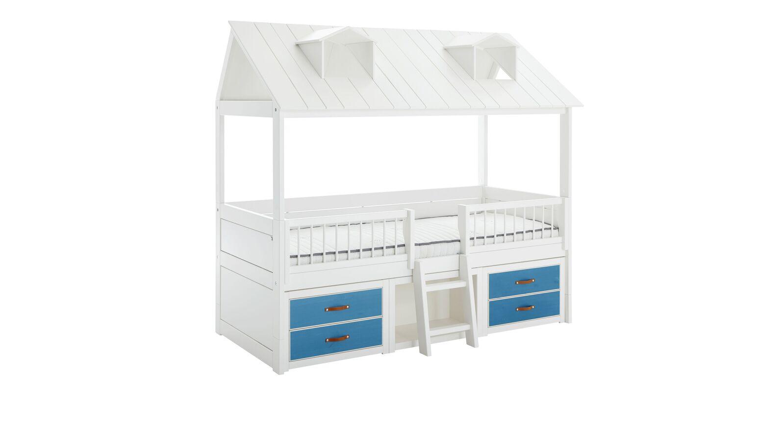 LIFETIME Kojenbett Beachhouse mit blau lasierten Schubladen